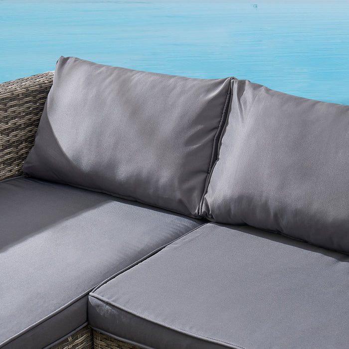 Troy 3 Piece Garden Sofa Set with Table in Grey 7