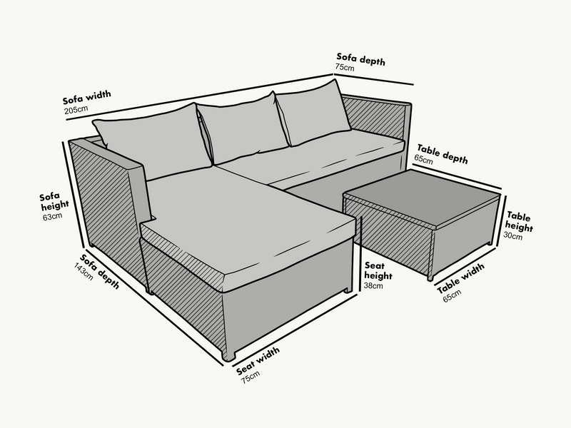 Troy 3 Piece Garden Sofa Set with Table in Grey 5
