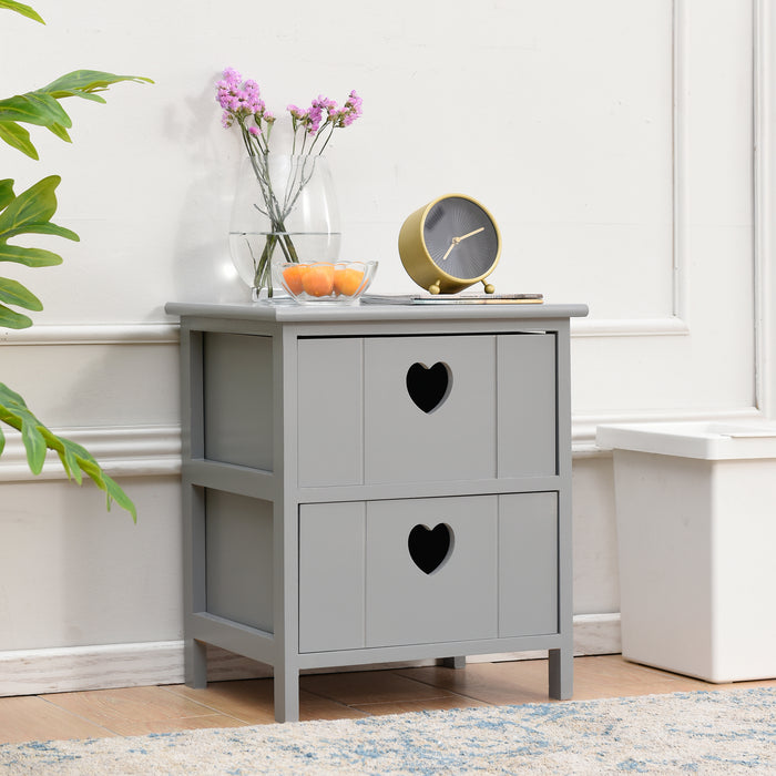 Victoria 2 Drawer Bedside Table with Heart cutout handles FSC Certified Grey 2