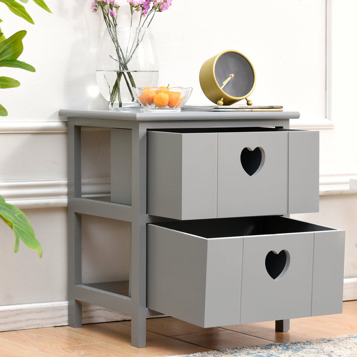 Victoria 2 Drawer Bedside Table with Heart cutout handles FSC Certified Grey 3
