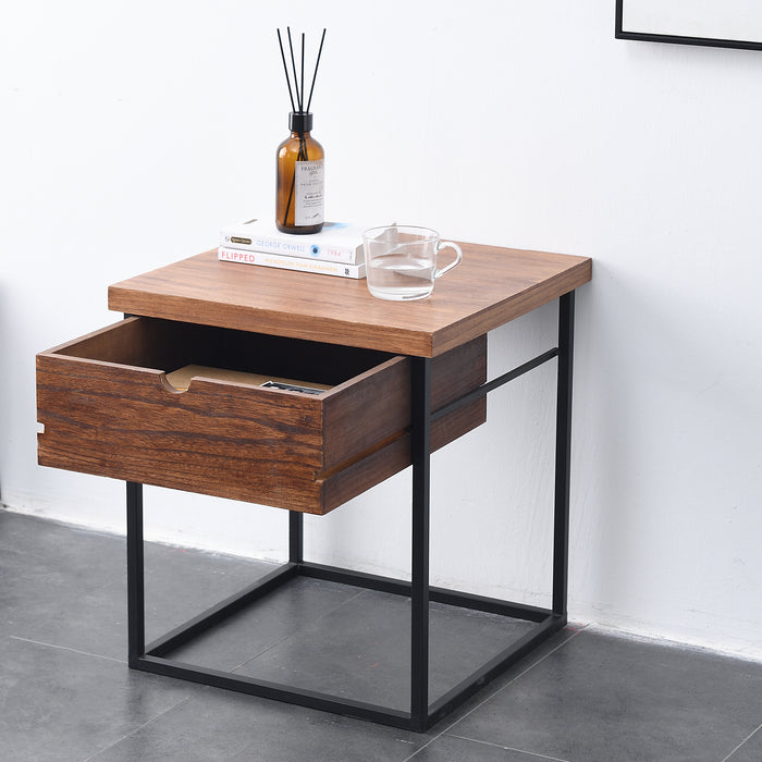 Tray Top 1 Drawer Wooden Side Table FSC Certified 4