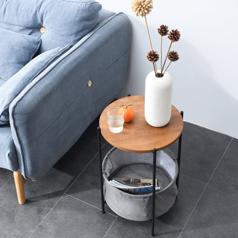 Side Table with Grey Foldable Fabric Storage Bag 3