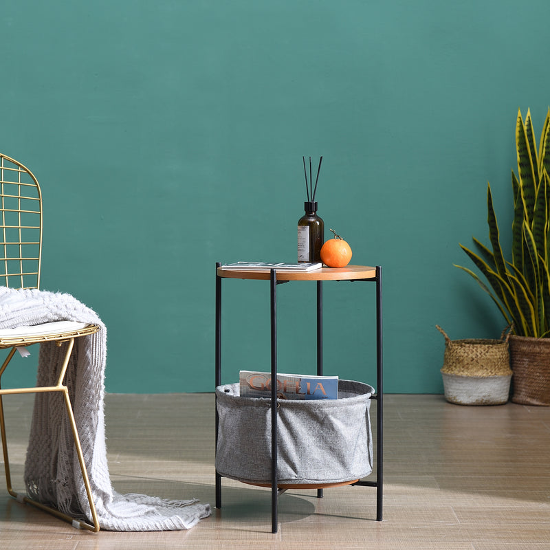 Side Table with Grey Foldable Fabric Storage Bag 4