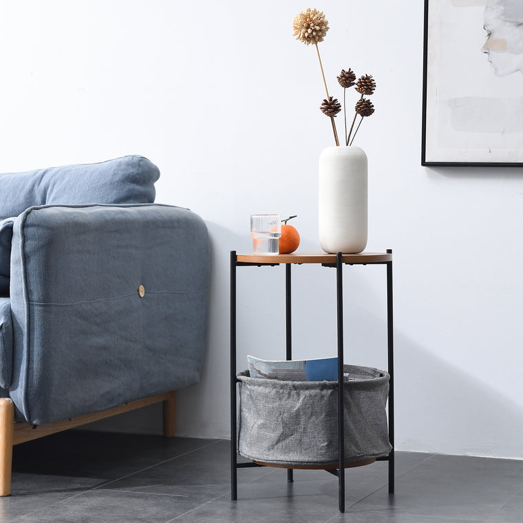 Side Table with Grey Foldable Fabric Storage Bag