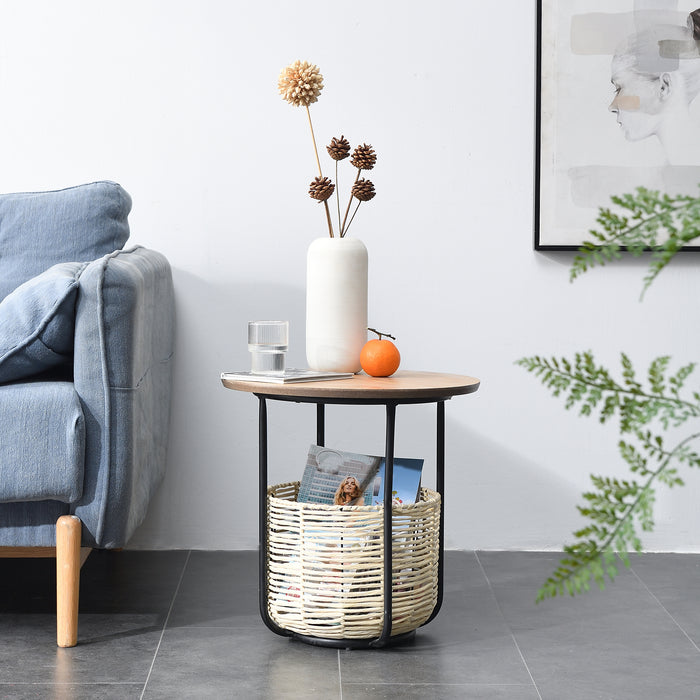 Side Table with Woven Storage Basket 2