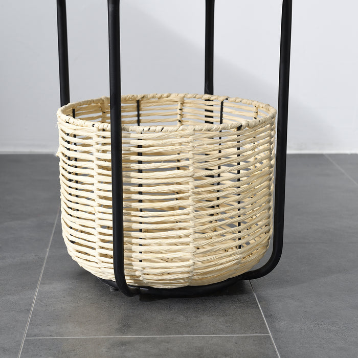 Side Table with Woven Storage Basket 4