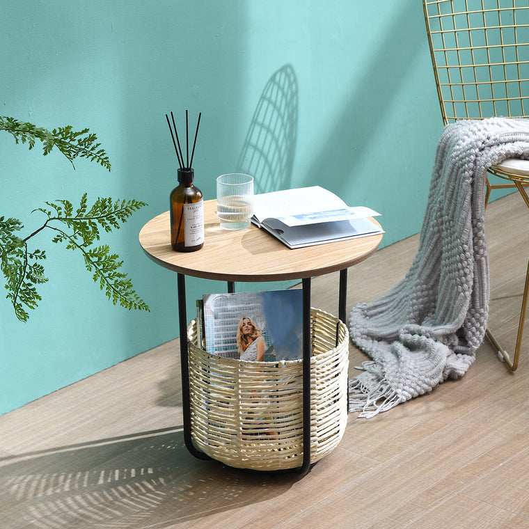 Side Table with Woven Storage Basket