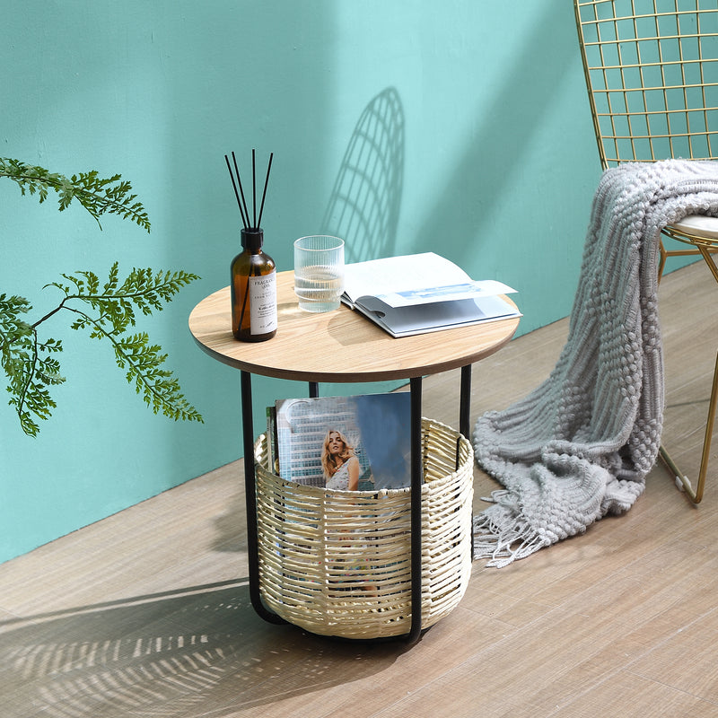 Side Table with Woven Storage Basket 1