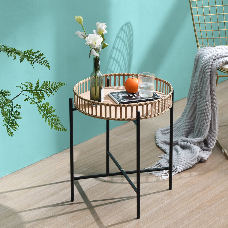 Bamboo and Wood Tray Side Table with Foldable Metal Frame
