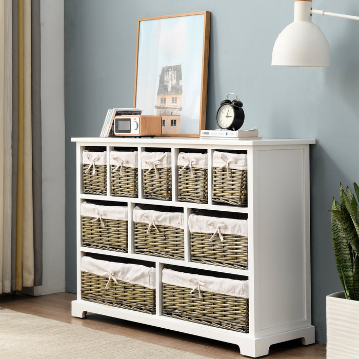 10 Drawer Chest with Willow Wicker Baskets FSC Certified 2