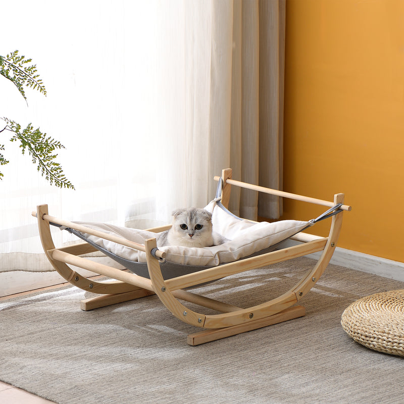 Natural Wood Cat Bed Hammock Cream FSC Certified 1