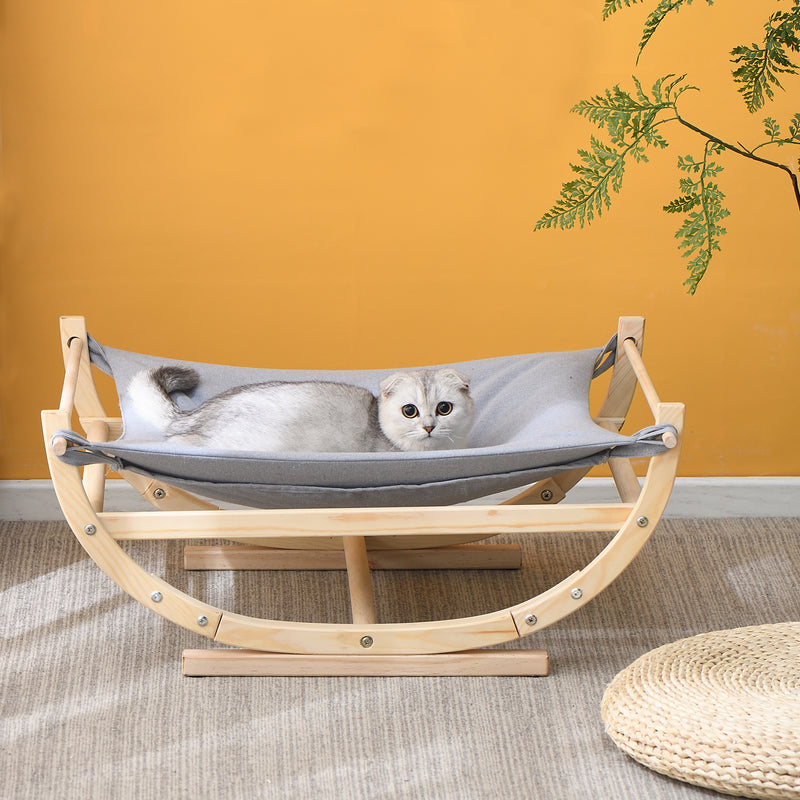 Natural Wood Cat Bed Hammock Grey FSC Certified 2