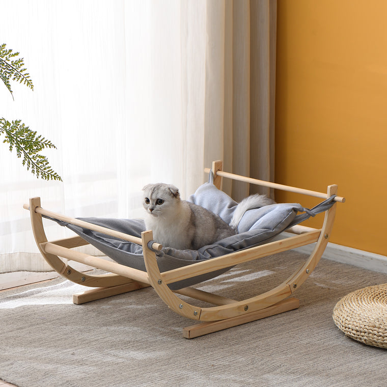 Natural Wood Cat Bed Hammock Grey FSC Certified