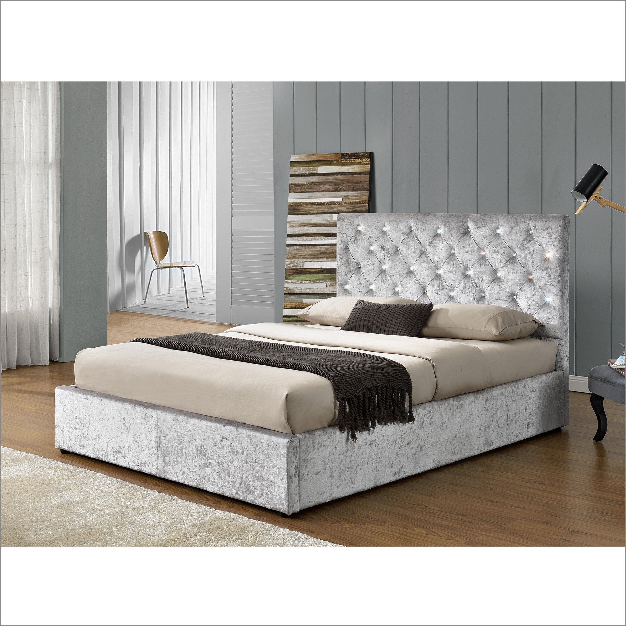 AQUILA Crushed Velvet Upholstered Bed Frame with Diamante Headboard, Silver