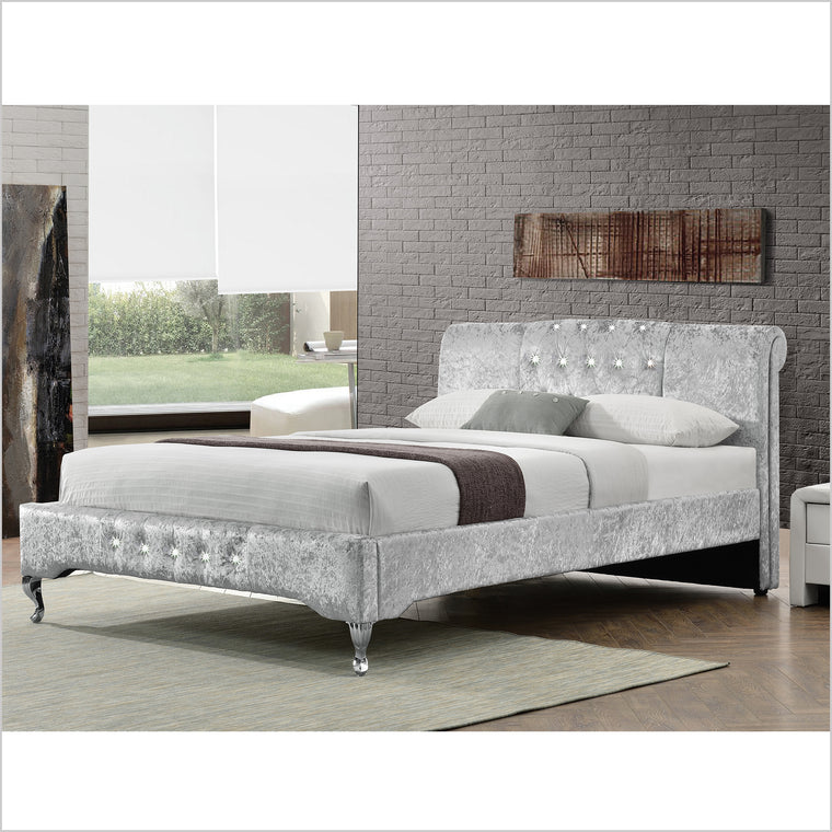 CHARA Diamante Headboard Luxury Crushed Velvet Bed Bed Frame, Silver