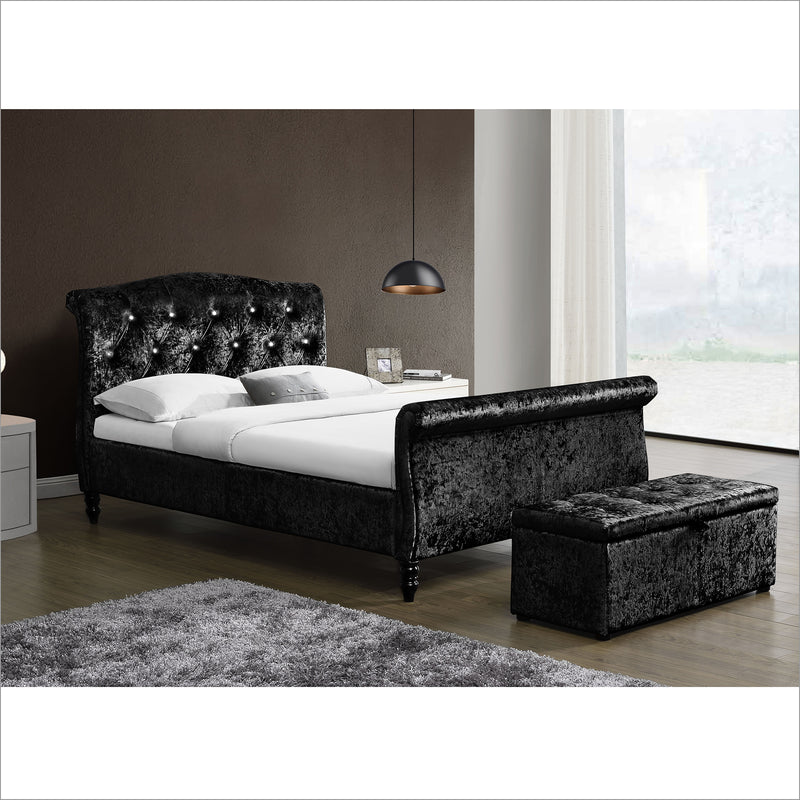 meissa crushed velvet sleight bed with diamante headboard black