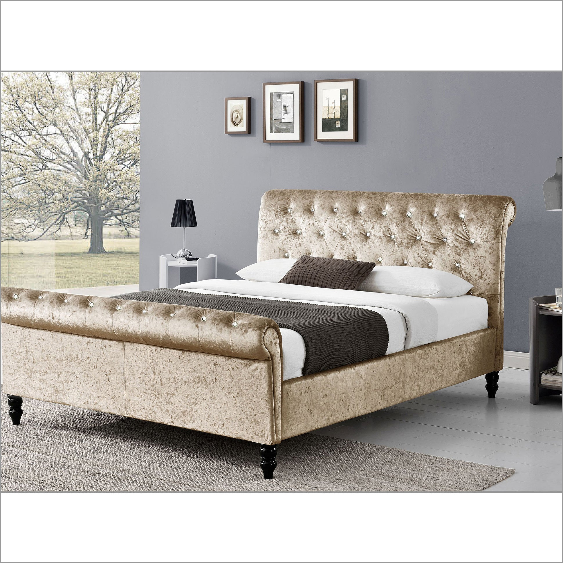 CAPELLA Chesterfield Diamante Champagne Crushed Velvet Sleigh Bed, Champagne