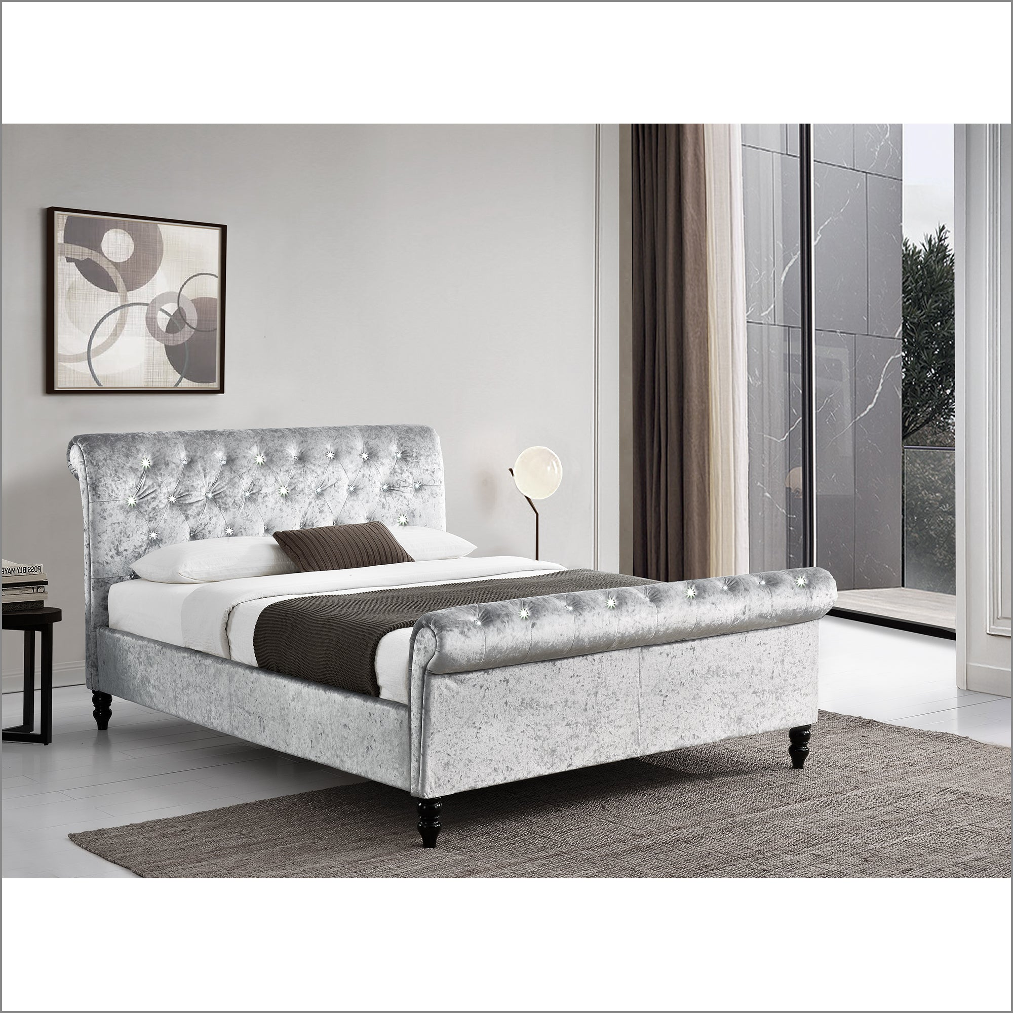 CAPELLA Chesterfield Diamante Champagne Crushed Velvet Sleigh Bed, Silver
