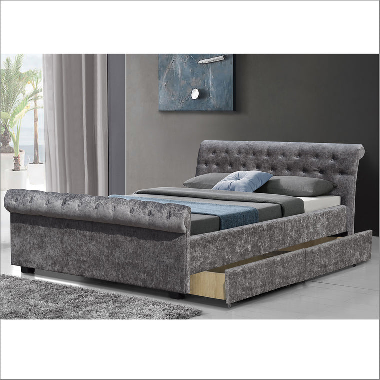 MAIA Luxurious Crushed Velvet Sleigh Bed with 4-Drawer Storage, Charcoal