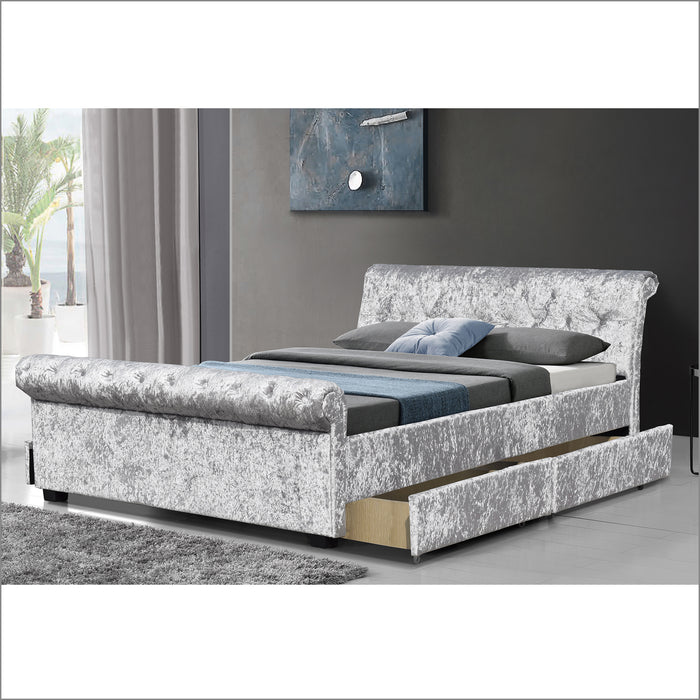 maia luxurious crushed velvet sleigh bed with 4 drawer storage silver