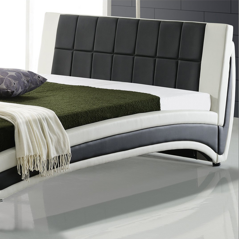 LEPUS Modern PU Leather Upholstered Bed with Waffled Headboard & Chrome Feet, Black & White