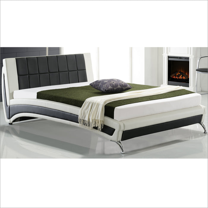 lepus modern pu leather upholstered bed with waffled headboard chrome feet black white