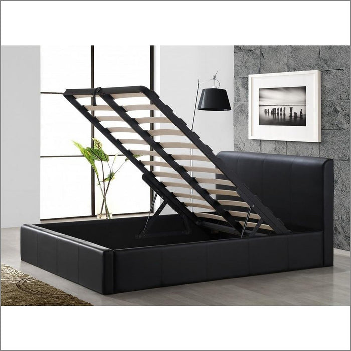 Black Storage Ottoman Gas Lift Faux Leather Upholstered Bed