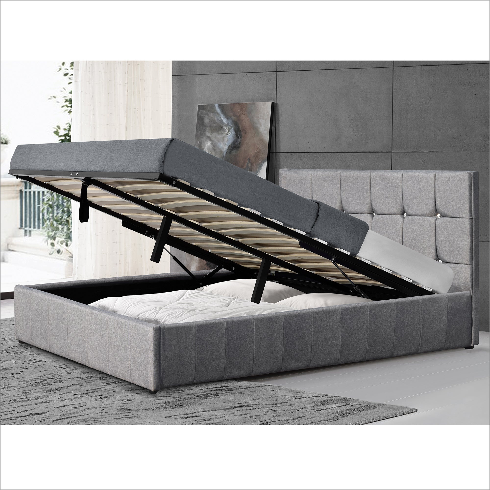 mira gas lift storage bed ottoman bed with diamante studded headboard grey fabric
