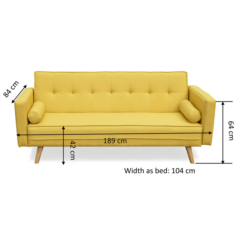 on sale e16d8 a6ef6 NORA 3-Seater Fabric Sofa Bed Sleeper Sofa with Cushions, Yellow