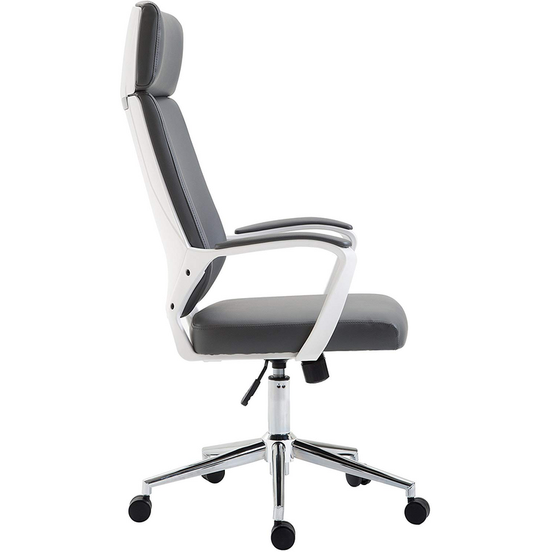 Cherry Tree Furniture High Back Modern Design PU Leather Swivel Office Chair Computer Desk Chair, MO68 Grey