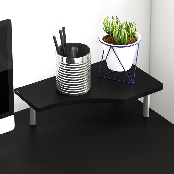 computer desk with cupboard drawers and keyboard tray black