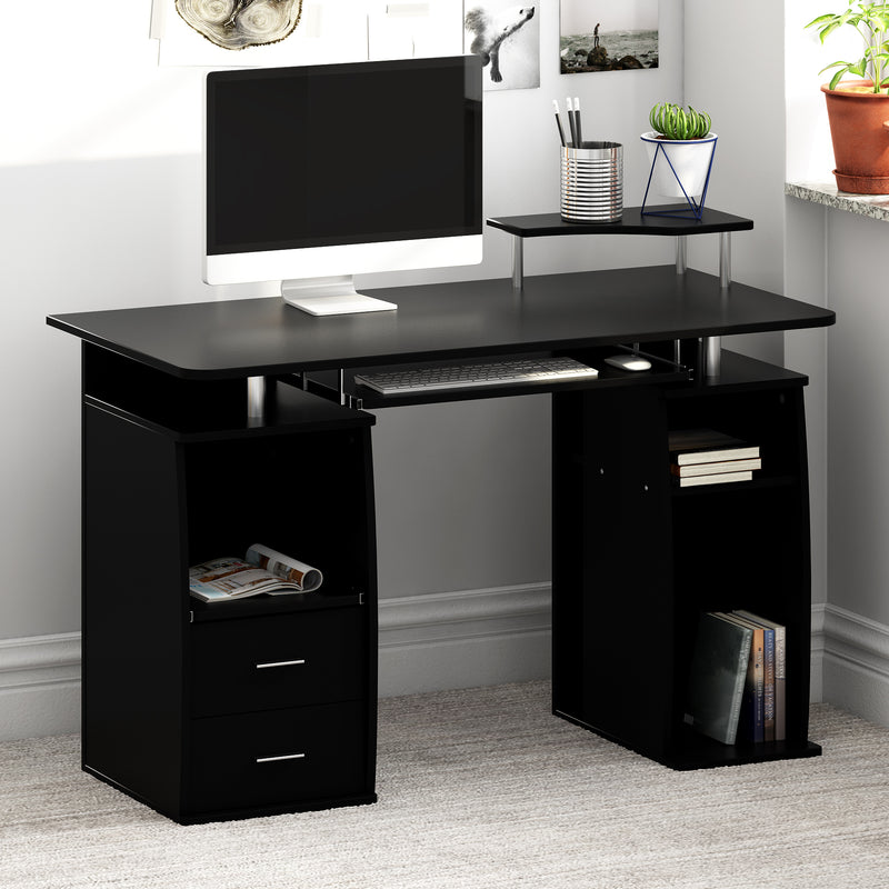Computer Desk with Cupboard Drawers and Keyboard Tray, Black