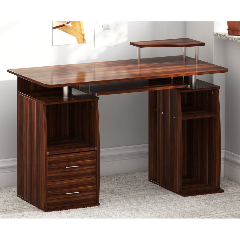 computer desk with cupboard drawers and keyboard tray walnut