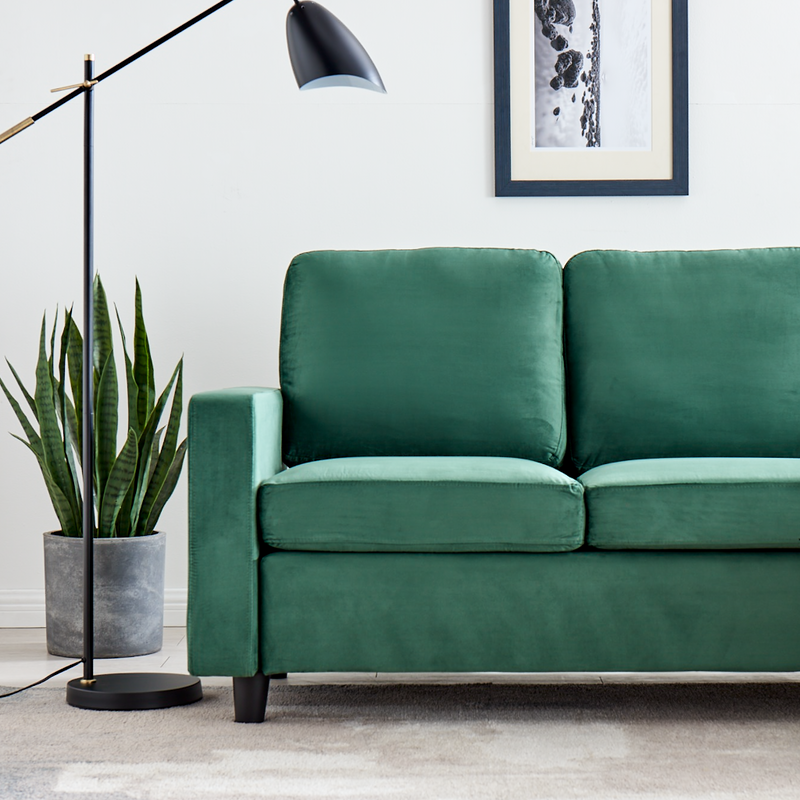 Campbell 3 Seater Sofa with Reversible Chaise in Green Velvet