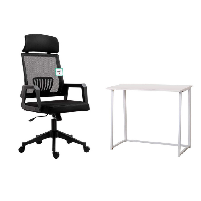 White Folding Desk & Black Beni Mesh Chair Bundle