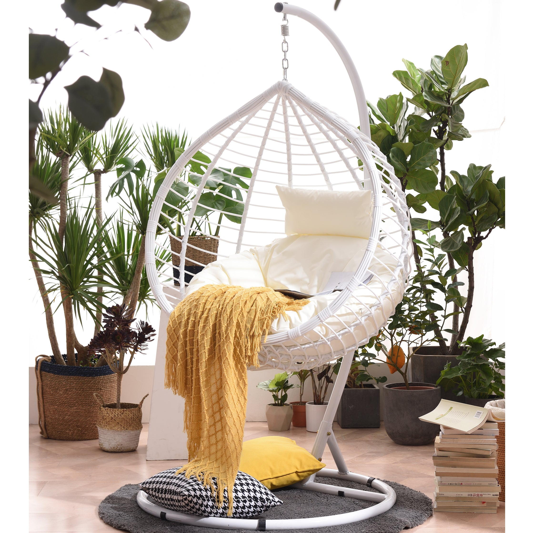 Breeze White Rattan Effect Hanging Egg Chair