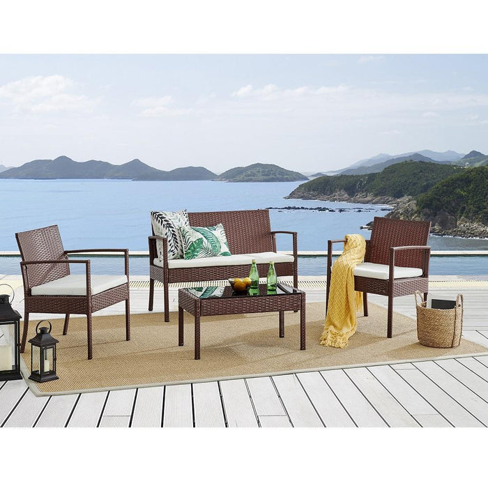 Polperro 4 Seater Rattan Effect Sofa Set Brown 1