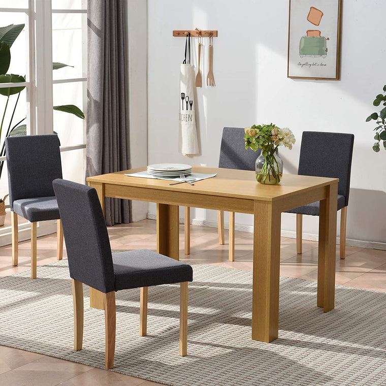 5 Piece Dining Room Set 4 Seater Dining Table with 4 Chairs with Oak Colour Table and Grey fabric Seats