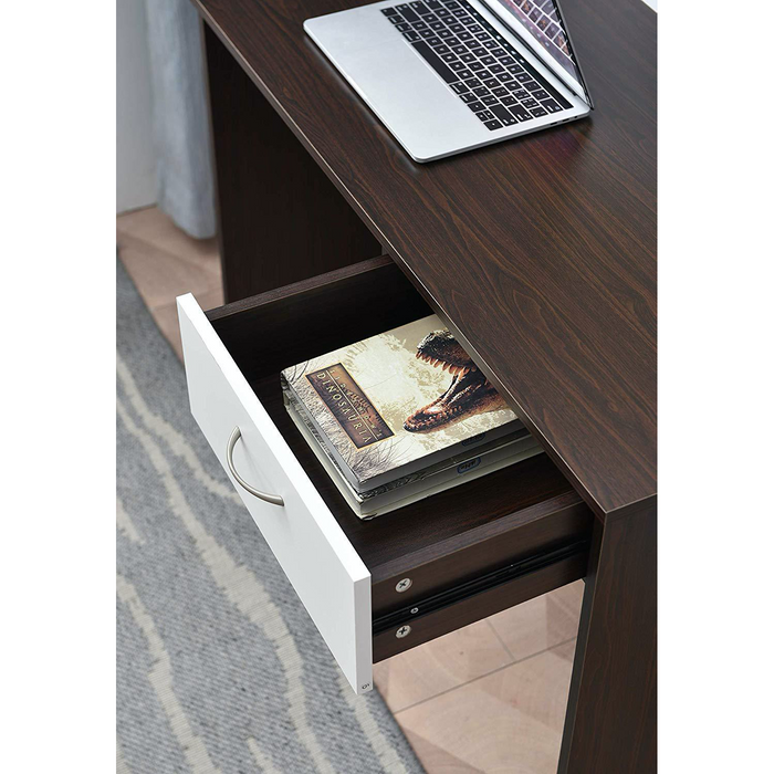 Cherry Tree Furniture MERV Computer Desk Home Office Desk with Drawer Walnut & White Colour
