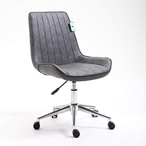 Cherry Tree Furniture Cala Vintage Grey PU Leather Desk Chair Swivel Chair with Chrome Feet