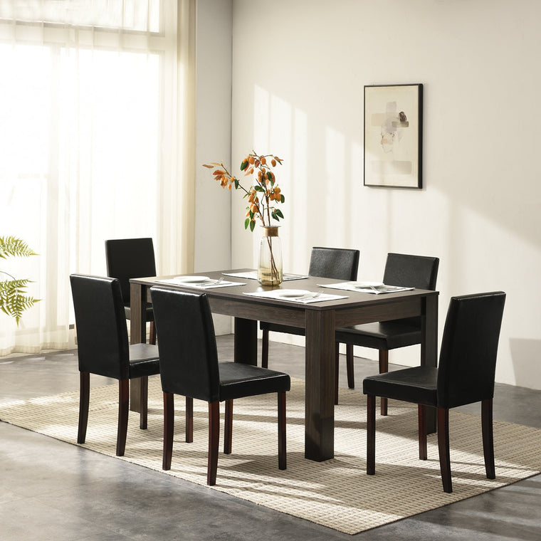 7 Piece Dining Room Set Dining Table with 6 Chairs Walnut Effect