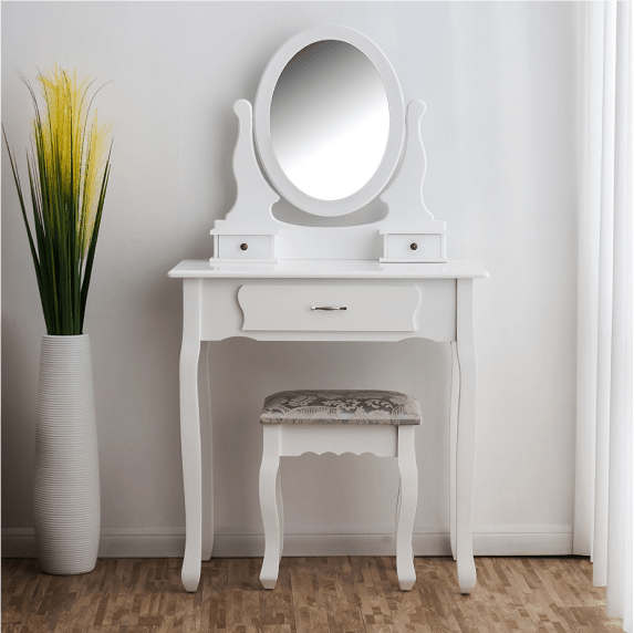 3-Drawer Makeup Dressing Table Set with Stool Oval Mirror & Stool - DaAl's