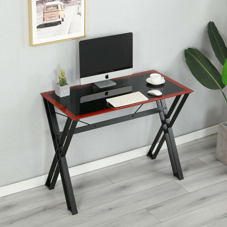 ROSCOE Black Glass Top Office Desk Computer Desk with Steel Frame