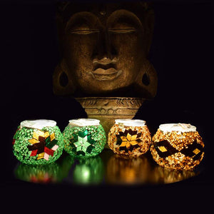 Set of 4 Mosaic Votive Candle Holders - Earth Collection