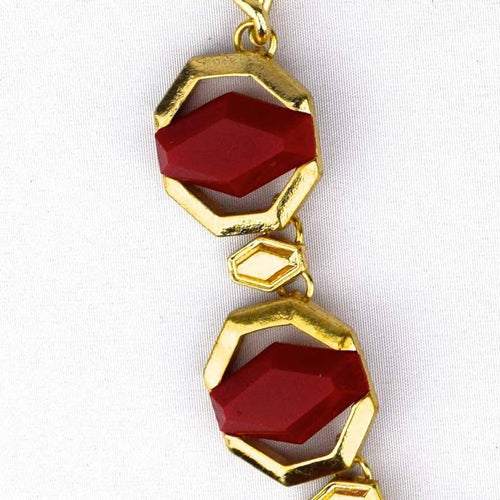 Geometric Jewel Necklace - Dark Red, Moroccan lighting, Little Light Bazaar
