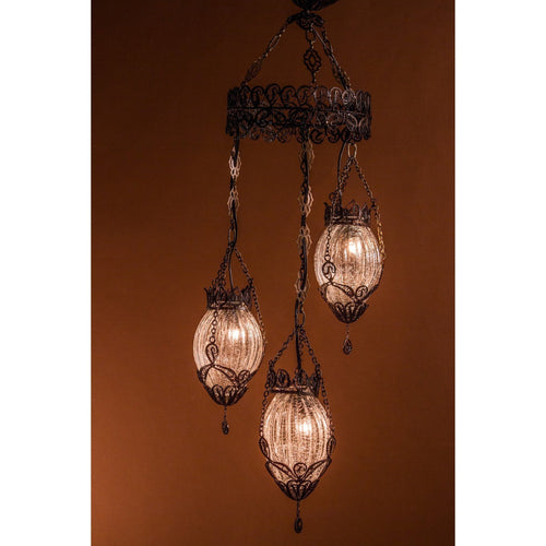 Lady Jane Grey-Chandeliers-littlelightbazaar-3 globe copper filigree chandelier with blown glass-Little Light Bazaar
