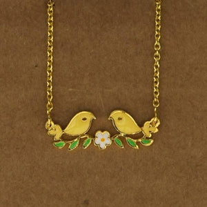 Love Birds Necklace - Yellow-Accessories-George & Augie-Yellow-Little Light Bazaar