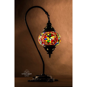 Mesmerize-Table Lamps-littlelightbazaar-Multicolor mosaic with red circle-Little Light Bazaar