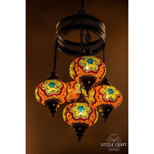 Moondance-Chandeliers-Little Light Bazaar-Mosaic chandelier - 4 globes - 6 inch globes-Little Light Bazaar
