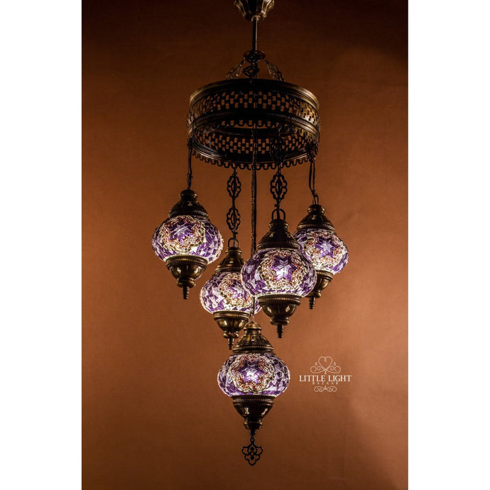 Moonlight Sonata-Chandeliers-Little Light Bazaar-Mosaic chandelier - 5 globes - 5 inch globes-Little Light Bazaar